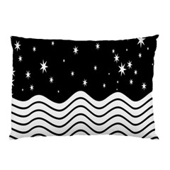 Black And White Waves And Stars Abstract Backdrop Clipart Pillow Case by Amaryn4rt