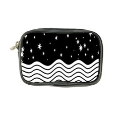 Black And White Waves And Stars Abstract Backdrop Clipart Coin Purse by Amaryn4rt