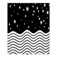 Black And White Waves And Stars Abstract Backdrop Clipart Shower Curtain 60  X 72  (medium)  by Amaryn4rt
