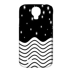 Black And White Waves And Stars Abstract Backdrop Clipart Samsung Galaxy S4 Classic Hardshell Case (pc+silicone) by Amaryn4rt