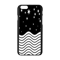 Black And White Waves And Stars Abstract Backdrop Clipart Apple Iphone 6/6s Black Enamel Case by Amaryn4rt