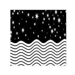Black And White Waves And Stars Abstract Backdrop Clipart Small Satin Scarf (square) by Amaryn4rt