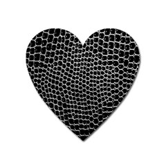 Black White Crocodile Background Heart Magnet by Amaryn4rt