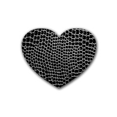 Black White Crocodile Background Heart Coaster (4 Pack)  by Amaryn4rt