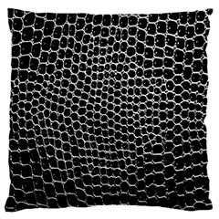 Black White Crocodile Background Large Flano Cushion Case (two Sides) by Amaryn4rt
