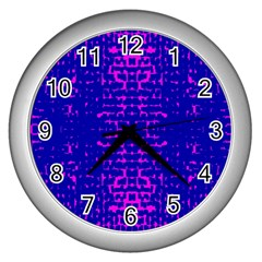 Blue And Pink Pixel Pattern Wall Clocks (silver)  by Amaryn4rt