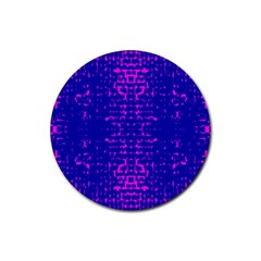 Blue And Pink Pixel Pattern Rubber Coaster (round)