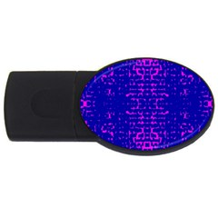 Blue And Pink Pixel Pattern Usb Flash Drive Oval (2 Gb) by Amaryn4rt