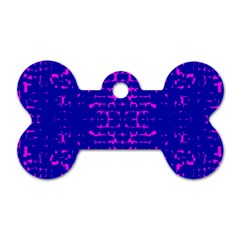 Blue And Pink Pixel Pattern Dog Tag Bone (one Side) by Amaryn4rt