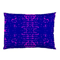 Blue And Pink Pixel Pattern Pillow Case by Amaryn4rt