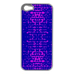 Blue And Pink Pixel Pattern Apple Iphone 5 Case (silver) by Amaryn4rt