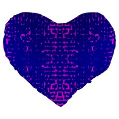 Blue And Pink Pixel Pattern Large 19  Premium Flano Heart Shape Cushions by Amaryn4rt