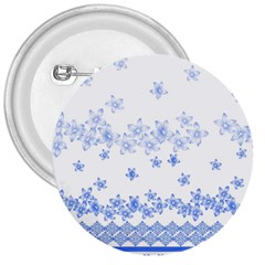 Blue And White Floral Background 3  Buttons by Amaryn4rt