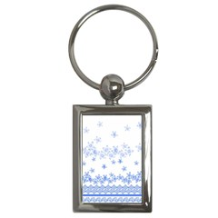 Blue And White Floral Background Key Chains (rectangle)  by Amaryn4rt