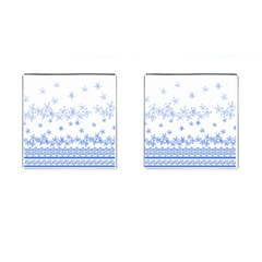 Blue And White Floral Background Cufflinks (square) by Amaryn4rt