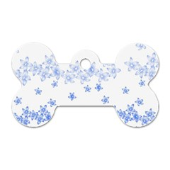 Blue And White Floral Background Dog Tag Bone (one Side) by Amaryn4rt
