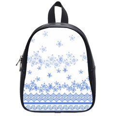 Blue And White Floral Background School Bags (small)  by Amaryn4rt