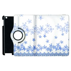 Blue And White Floral Background Apple Ipad 2 Flip 360 Case by Amaryn4rt