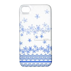 Blue And White Floral Background Apple Iphone 4/4s Hardshell Case With Stand by Amaryn4rt