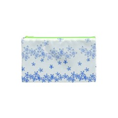Blue And White Floral Background Cosmetic Bag (xs) by Amaryn4rt