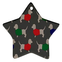 Cute Dachshund Dogs Wearing Jumpers Wallpaper Pattern Background Ornament (star) by Amaryn4rt