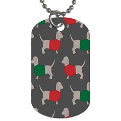 Cute Dachshund Dogs Wearing Jumpers Wallpaper Pattern Background Dog Tag (one Side)
