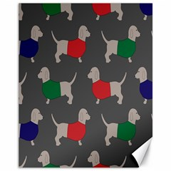 Cute Dachshund Dogs Wearing Jumpers Wallpaper Pattern Background Canvas 11  X 14