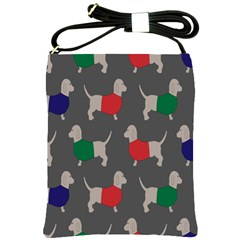 Cute Dachshund Dogs Wearing Jumpers Wallpaper Pattern Background Shoulder Sling Bags by Amaryn4rt