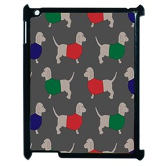 Cute Dachshund Dogs Wearing Jumpers Wallpaper Pattern Background Apple Ipad 2 Case (black) by Amaryn4rt