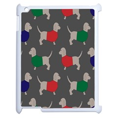 Cute Dachshund Dogs Wearing Jumpers Wallpaper Pattern Background Apple Ipad 2 Case (white) by Amaryn4rt