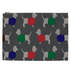 Cute Dachshund Dogs Wearing Jumpers Wallpaper Pattern Background Cosmetic Bag (xxl)  by Amaryn4rt