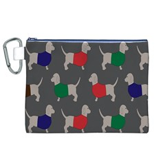 Cute Dachshund Dogs Wearing Jumpers Wallpaper Pattern Background Canvas Cosmetic Bag (xl) by Amaryn4rt