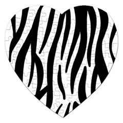 Seamless Zebra A Completely Zebra Skin Background Pattern Jigsaw Puzzle (heart) by Amaryn4rt