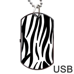 Seamless Zebra A Completely Zebra Skin Background Pattern Dog Tag Usb Flash (two Sides) by Amaryn4rt