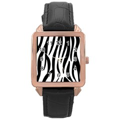 Seamless Zebra A Completely Zebra Skin Background Pattern Rose Gold Leather Watch  by Amaryn4rt