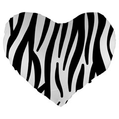 Seamless Zebra A Completely Zebra Skin Background Pattern Large 19  Premium Flano Heart Shape Cushions