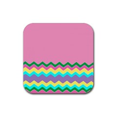 Easter Chevron Pattern Stripes Rubber Coaster (square)  by Amaryn4rt