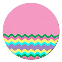 Easter Chevron Pattern Stripes Magnet 5  (round) by Amaryn4rt