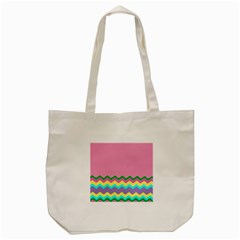 Easter Chevron Pattern Stripes Tote Bag (cream) by Amaryn4rt