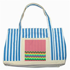 Easter Chevron Pattern Stripes Striped Blue Tote Bag by Amaryn4rt