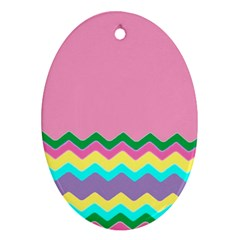 Easter Chevron Pattern Stripes Oval Ornament (two Sides) by Amaryn4rt