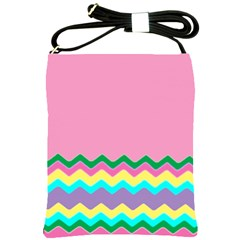 Easter Chevron Pattern Stripes Shoulder Sling Bags by Amaryn4rt