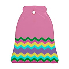 Easter Chevron Pattern Stripes Bell Ornament (Two Sides) by Amaryn4rt