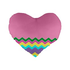 Easter Chevron Pattern Stripes Standard 16  Premium Heart Shape Cushions by Amaryn4rt