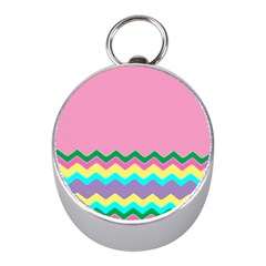 Easter Chevron Pattern Stripes Mini Silver Compasses by Amaryn4rt