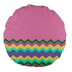 Easter Chevron Pattern Stripes Large 18  Premium Flano Round Cushions by Amaryn4rt