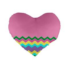 Easter Chevron Pattern Stripes Standard 16  Premium Flano Heart Shape Cushions by Amaryn4rt
