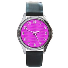 Clovers On Pink Round Metal Watch by PhotoNOLA
