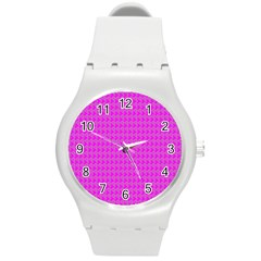 Clovers On Pink Round Plastic Sport Watch (m) by PhotoNOLA