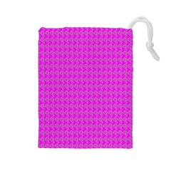 Clovers On Pink Drawstring Pouches (large)  by PhotoNOLA
